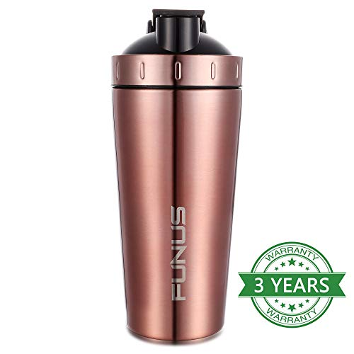 FUNUS SPORTS Protein Shaker Bottle for Protein Mixed Stainless Steel Water Bottle |Dishwasher Safe| Visible Window| Leak Proof| BPA Free Sharker Cup for Gym Shaker (Rosegold)