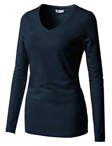 H2H Womens Vneck Slim Cut Henley Long Sleeve City Casual Tshirts Navy US XL/Asia XL (CWTTL0250)