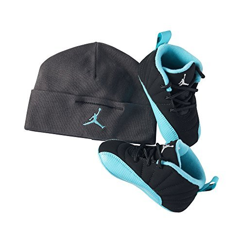 af7589037c33 Galleon - Nike Air Infant Black Metallic Silver Hyper Jade Jordan Retro 12  Shoes Gift Pack - 4 M US Toddler