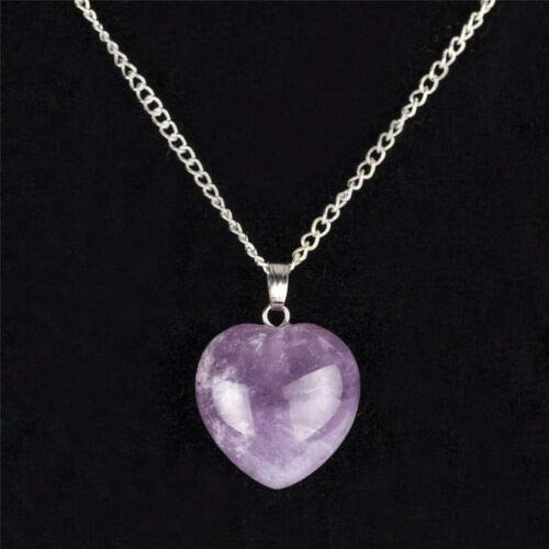 (AZAMON Charm Elegant Design Women .925 Sterling Silver Material Necklace Chain Amethyst Crystal Heart Purple Color Pendant )