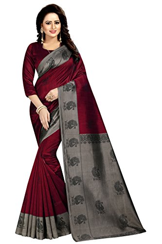 Indian Cottage Women's Fancy Ethnic Printed Red Mysore Art Silk Saree with Beautiful motif 5.50 Mtr Red