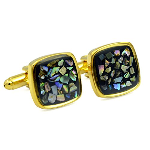 ENVIDIA Gold Plated Colorful Shell Mosaic Square Cufflinks Fashion Wedding Party Gifts with Box