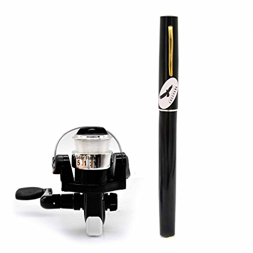 Freehawk Mini Carbon Fiber Telescopic Pen Fishing Rod Pocket Pen Fishing Pole Pocket Travel Fishing Rod Sea Fishing Rods + 2000 Aluminum Spinning Fishing Reel + Fishing Line (Aluminium Fly Box)