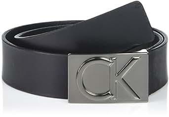 Calvin Klein Men's 38mm Flat Strap Smooth, Matte Leather Belt, Black Gunmetal, 30