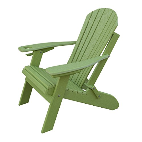 Furniture Barn USA Deluxe Premium Poly Lumber Folding Adirondack Chair w/Cup Holder & Smart Phone Holder - Lime Green (Smart Green)