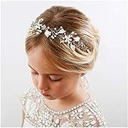 SWEETV Flower Girl Headband for Wedding, Baby's Breath Hair Piece,Girls Headpiece for Birthday Party, Phot