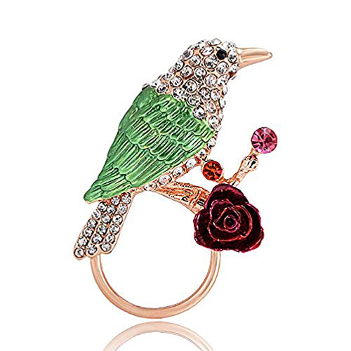 TUSHUO Elegant Pretty Travelling Green Bird Rose Gold Holiday Regular Eyeglasses Sunglasses Reading Glasses Holder Magnetic Brooch or Chic ID Badge Retractable Badge Holder for Work Pin Beautiful