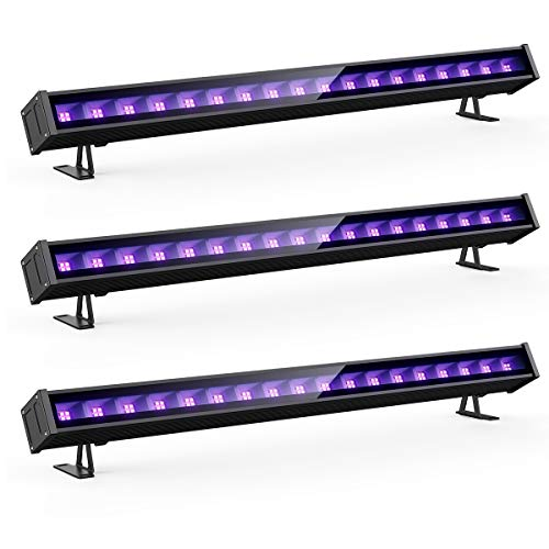 Onforu 45W UV LED Black Light Bar, 5ft Power Cord with US Plug and Switch, Glow in The Dark Party Supplies for Stage Lighting, Halloween, Body Paint, Fluorescent Poster, Birthday Wedding Party, 3 Pack]()