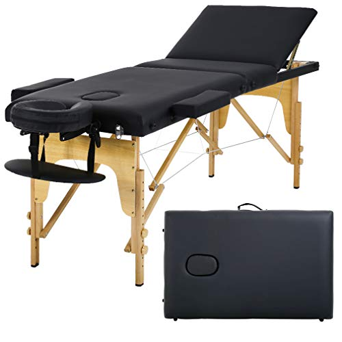 Massage Table Massage Bed Spa Bed 73 Inch Portable Heigh Adjustable 3 Folding Massage Table Salon Bed W/Carry Case ()