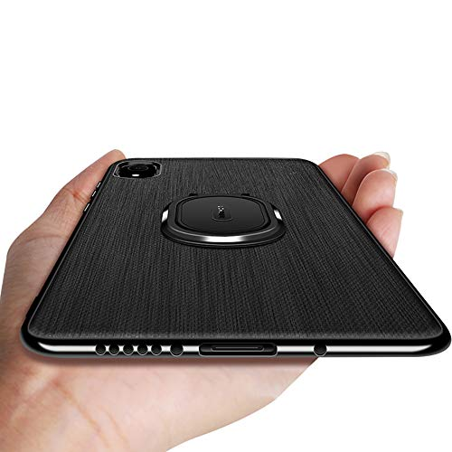Diaxbest Leather Case Compatible with iPhone Xs Max, Slim Leather Case with Ring Holder Stand Anti-Slip Soft TPU Full Protective Shockproof Business Men Covers Compatible iPhone 6.5 inch ()