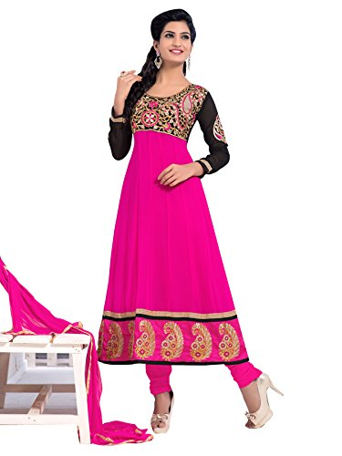 Vibes Women's Georgette Patch Work Straight Dress Material – Free Size, Pink