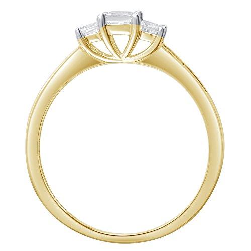 1/4 Cttw Princess Cut Diamond Three Stone Ring in 10K Yellow Gold