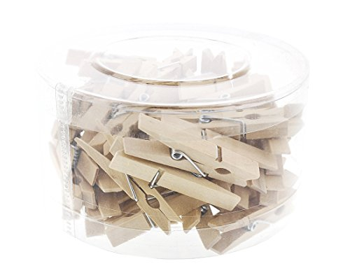 Juvale Mini Wooden Clothespins - 50 Pieces Pegs Natural Wood Finish – Ideal Crafts, Photo Clips, Home Decoration More, 1.75 Inches in Length