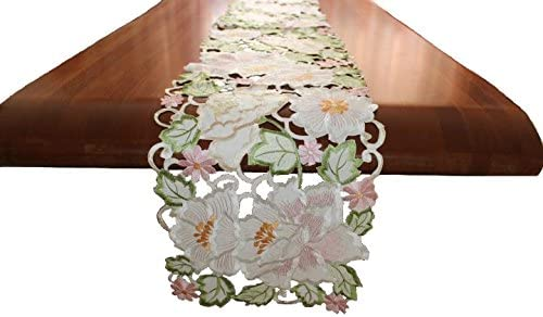 Spring Year Round Table Runner Summer Orange and Ivory Floral Table Runner with 2 Napkins Set /& Autumn Table Runner.