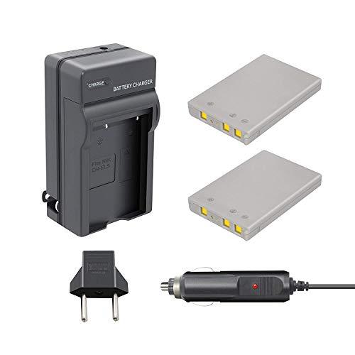 Bonacell EN-EL5 Replacement Battery 1500mAh and Charger Kit Compatible with Nikon CoolPix 3700, 4200, 5200, 5900, 7900, P3, P4, P80, P90, P100, P500, P510, P520, P530, P5000, P5100, P6000, S10 2 Pack (Nikon Coolpix P500 Charger)