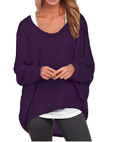 ZANZEA Women's Sexy Long Batwing Sleeve Loose Pullover Casual Top Blouse T-Shirt Purple US 18-20/Tag Size 3XL
