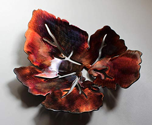 - METAL ART LEAF SCULPTED BOWL BRONZE/COPPER PLATED