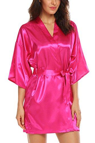 Avidlove Women's Kimono Robe Satin Lounge Bridesmaids Short Style Rose Red