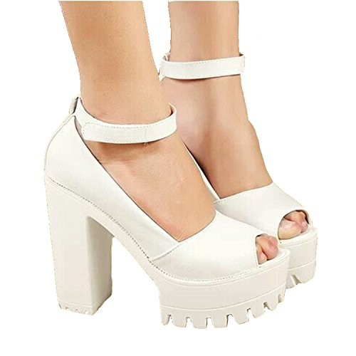 NEW summer style Sexy Open Toe High Heel Sandals Thick Heel Sandals Hasp Fashion Platform Shoes Women High shoes White - Summer Styles New