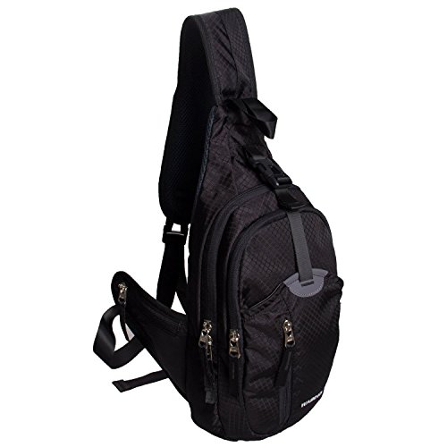 WASING Military Sport Pack Shoulder Sling Backpack Men Women Chest Gym Bag,Rover Sling Pack Chest Pack WS-ChestPack-black Review