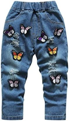 Size 4-5 Years Loveble Little Girls Ripped Jeans 3D Butterfly Embroidery A
