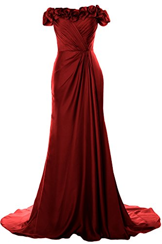 Burgunderrot MACloth Dress Prom Flowers Off Gown Evening Shoulder Formal 2018 Long with Women HHnwBrq7