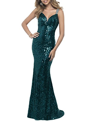 OYISHA Womens Backless Sequins Sexy Prom Evening Dresses Long Formal Dress EV9 Jade 26W