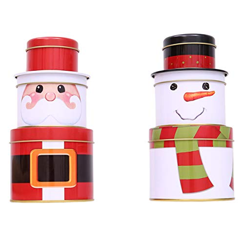 Cookie Tin Snowman (Kisstaker Christmas Candy Box, Three Layers Christmas Candy Decorations Cookie Biscuit Tin Metal Box Gift)