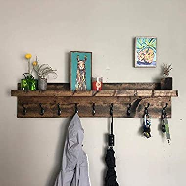 Coat Rack with Shelf (Choose your Length) Entryway Organizer Wall Mounted