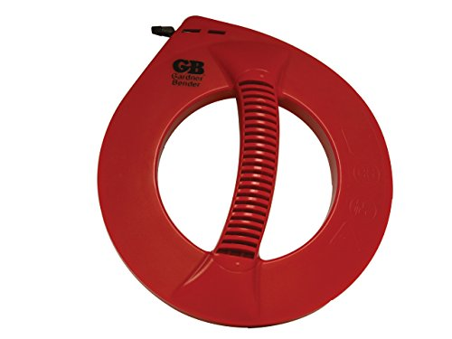 Gardner Bender EFT-21PN Cable Snake Steel Fish Tape, 25 ft. x ¼ in. Flat Tape, Eyelet Tip, Light Weight, Smooth Release and Wind, Electrical Contractor Fishing Tape, Red