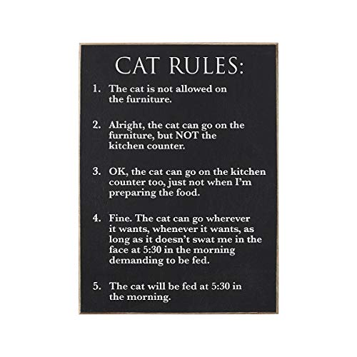 Collins Fresh and Original - Cat Rules Wooden Wall Sign, 7 Inches Wide X 9.5 Inches Tall