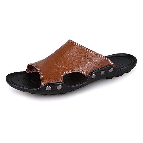 Piel Cuero Sandalias Zapatillas de Hombres Vaca de de Antideslizantes Marrón Zapatillas Deporte Genuino Playa de de de los qtZ4HY