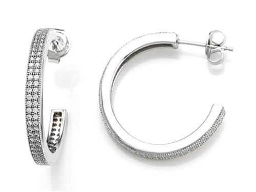 Zoe R Sterling Silver Micro Pave Hand Set Cubic Zirconia Two Row Medium Hoop Earrings (Row Pave Two Set)