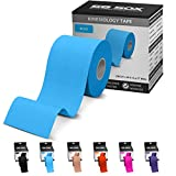 SB SOX Kinesiology Tape (16ft Uncut Roll) - Best Latex Free, Water Resistant Treatment for Muscles & Joints - Let Our Free Illustrative How-to-Use Guide Help You - Ideal for Any Activity (Blue)