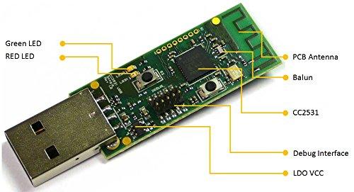 EZSync CC2531 Evaluation Module USB Dongle, CC2531EMK Compatible, Zigbee USB Dongle, EZSync104 by EZSync