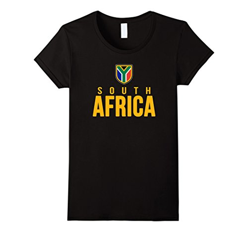 Women's South Africa T-shirt South African Flag Tee Rugby Soccer Large Black
