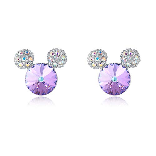 HERAYLI Mickey Mouse Stud Earrings For Girls/Women,Made With SWAROVSKI Crystal Lovely Earrings Jewelry Gift (Purple)