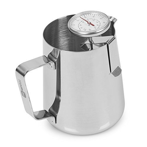 (Homiu Milk Jug Pitcher and Thermometer Stainless Steel Perfect for Making Coffee And Frothed Beverages 550ml)