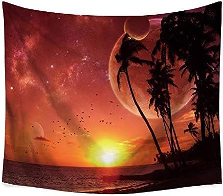 YSYS@ Playa de Coco Tapiz Colgante de Pared Mandala Bohemio Mapa Tapiz Pared Retro Arte Tela Home Decor Playa Toalla Yoga Mat, 230 x 150 cm