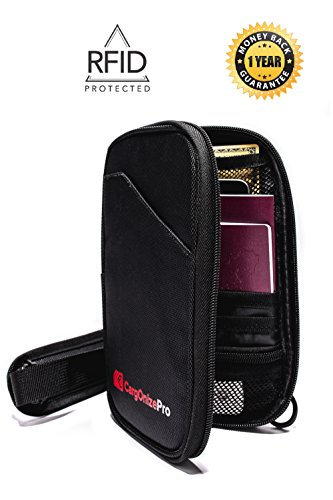 Premium RDIF Neck Passport Wallet and Travel Document Organizer by CargOnizePro
