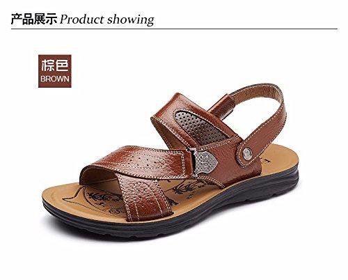 Uomini sandali Uomini estate vera pelle Spiaggia scarpa Tempo libero scarpa tendenza Il nuovo pelle Spessore inferiore Antiscivolo sandali Uomini scarpa ,giallo,US=10,UK=9.5,EU=44,CN=46