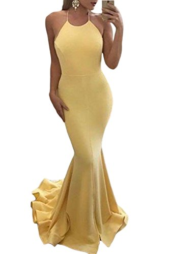 MARSEN Women's Sexy Halter Backless Prom Dress 2017 Long Mermaid Evening Gown Yellow Size (Yellow Halter Gown)