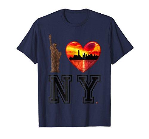 I love New York NY with Heart Shape City Landscape, Liberty