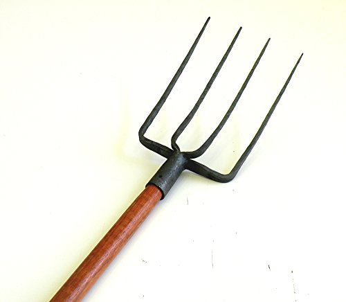 Ergonomic 4 Tines Forged Pitch Fork with Hardwood Handle,Professional Manure/Bedding Fork, 47.25-inch or Over Overall in Length Pro Manure Forged Ensilage Heavy Duty Fork.Simple Assembly Required ! by Eastern Cloud