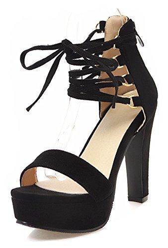 Aisun Women's Open Toe Sandals with Zipper - Self Tie Platform Chunky - Party Club Ankle Wrap High Heel (Black, 7.5 B(M) US)