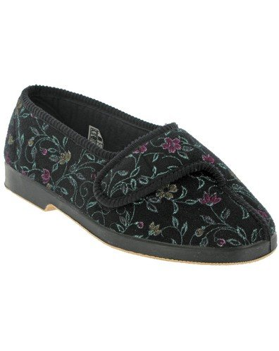 New GBS Wilma Ladies Wide Fit Slipper Floral Printed Fabric Rubber Sole Footwear Black 13wmMDcYC