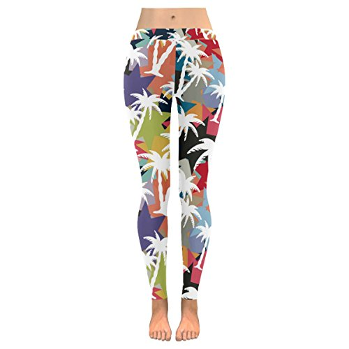 InterestPrint Coconut Palm Tree Custom Stretchy Capri Leggings Skinny Pants for Yoga Running Pilates Gym S