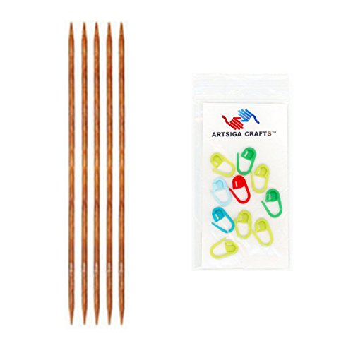 Knitter's Pride Knitting Needles Dreamz Double Pointed 5 inch (12.5cm) Size US 1 (2.25mm) Bundle with 10 Artsiga Crafts Stitch Markers 200102