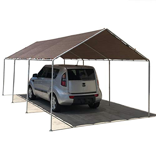 Aluminum 10ft Frame (Alion Home Waterproof Poly Tarp Carport Canopy Replacement Garage Shelter Cover w Ball Bungees for Low & Medium Peak(Frame Not Included) (10' x 10', Brown))