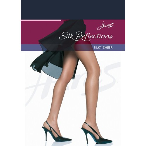Hanes womens Silk Reflections Reinforced Toe Pantyhose(00716)-Classic Navy-AB-3PK (Classic Stocking Tops)